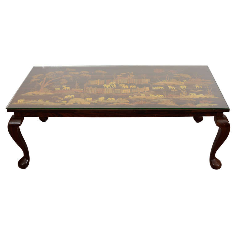 Mid Century Coffee Or Cocktail Table With Inlaid Elephant Scene At 1stdibs