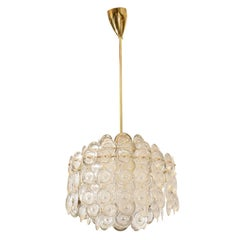 "Mid Century Italian Tiered Glass ""Optic Disk"" Chandelier"