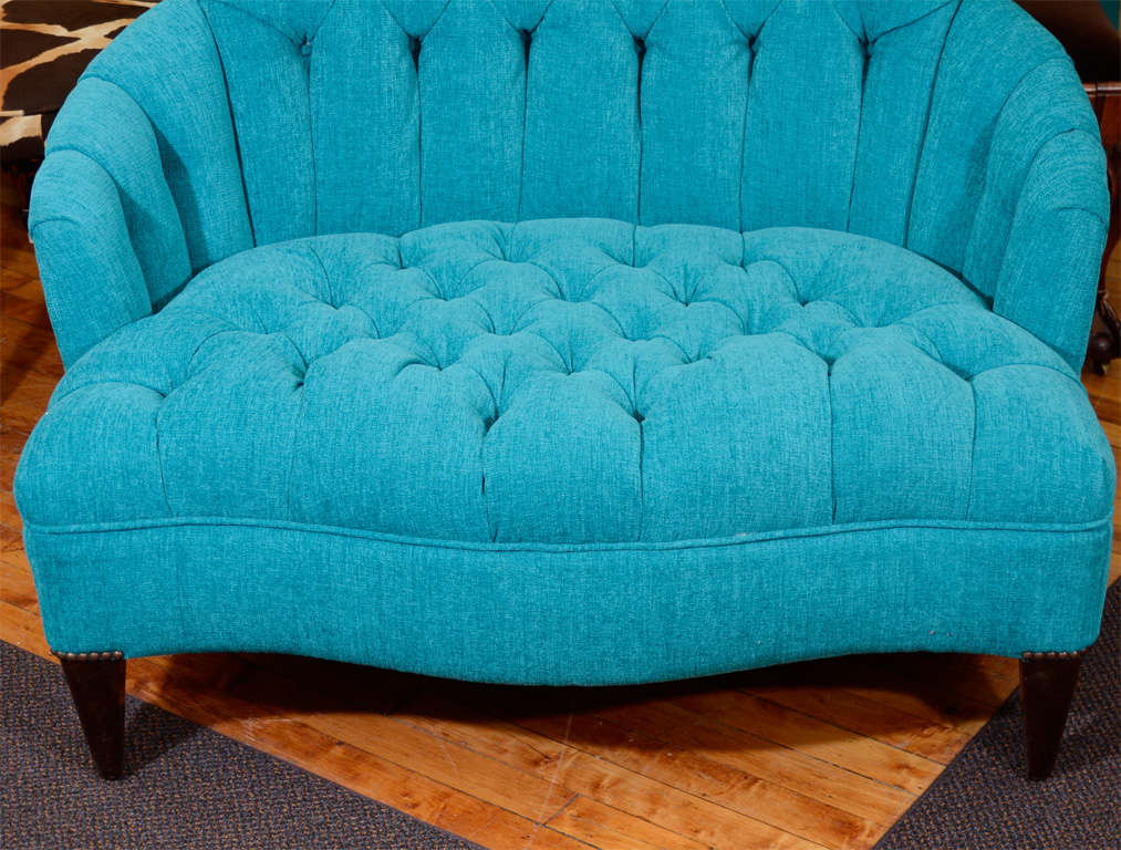 Vintage Turquoise Blue Tufted Quot Chair And A Half Quot At 1stdibs