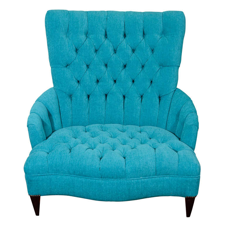 Vintage Turquoise Blue Tufted Chair And A Half
