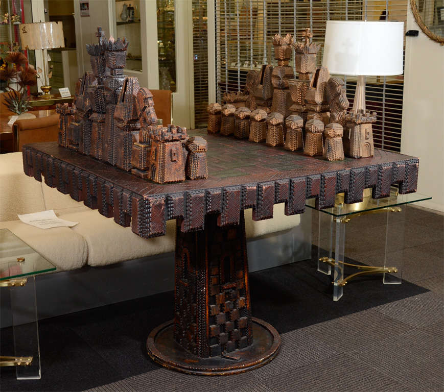 Vintage Monumental Carved Wood Game Table And Chess Pieces At 40stdibs Classy Wooden Gaming Table
