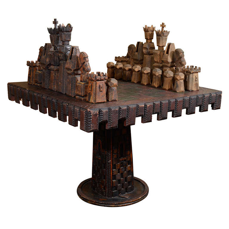 Vintage Monumental Carved Wood Game Table And Chess Pieces