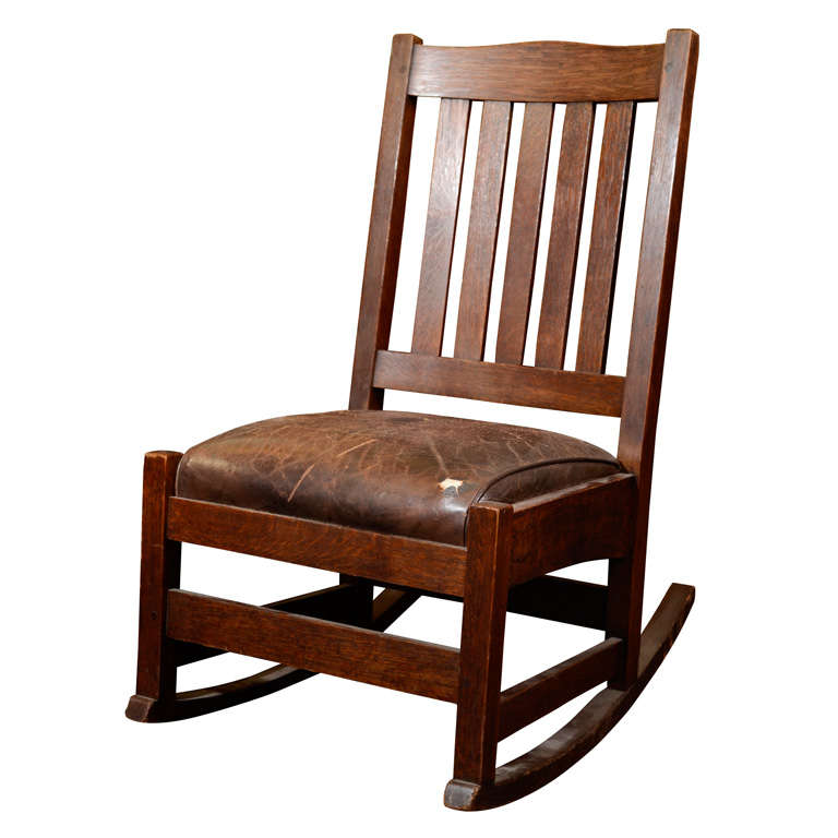 antique arts and crafts rocking chair by stickley