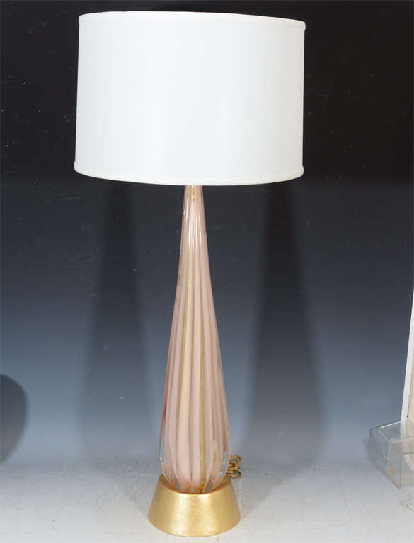 pair of mid century tall clear and pink glass table lamps at 1stdibs. Black Bedroom Furniture Sets. Home Design Ideas