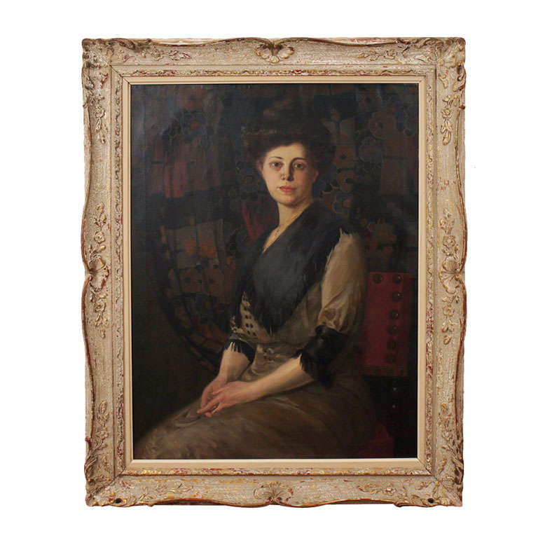 Oil on Canvas Portrait of a Lady by Rudolf Carl Mueller, circa 1905