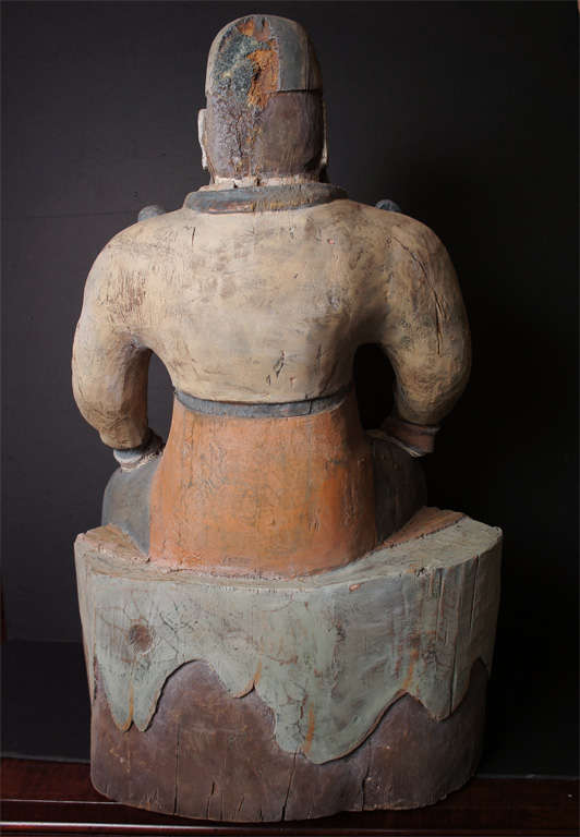 Painted Carved Wood Chinese Sculpture Of A Court Official