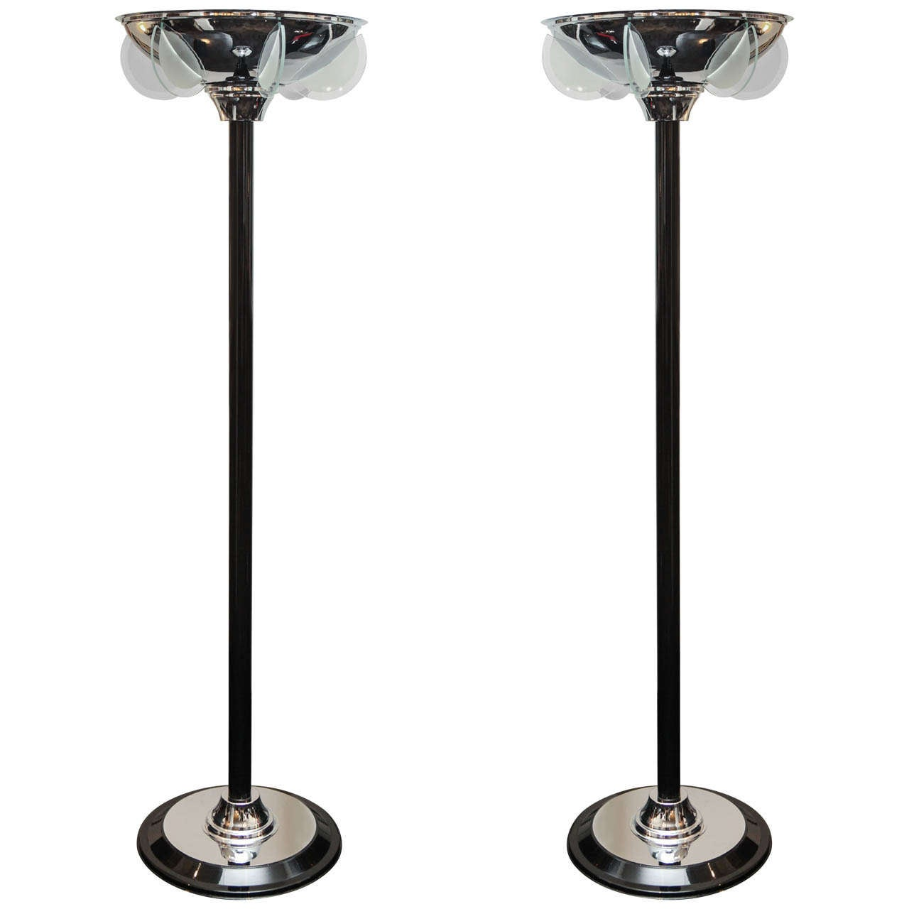 Pair of Black Lacquer Torchieres