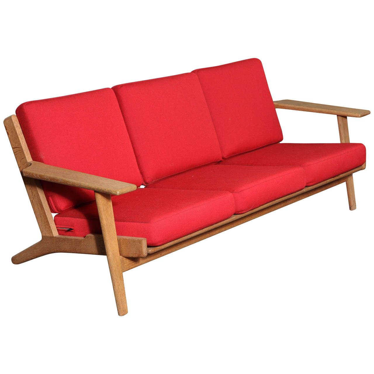 hans wegner ge 290 3 paddle arm sofa for sale at 1stdibs. Black Bedroom Furniture Sets. Home Design Ideas