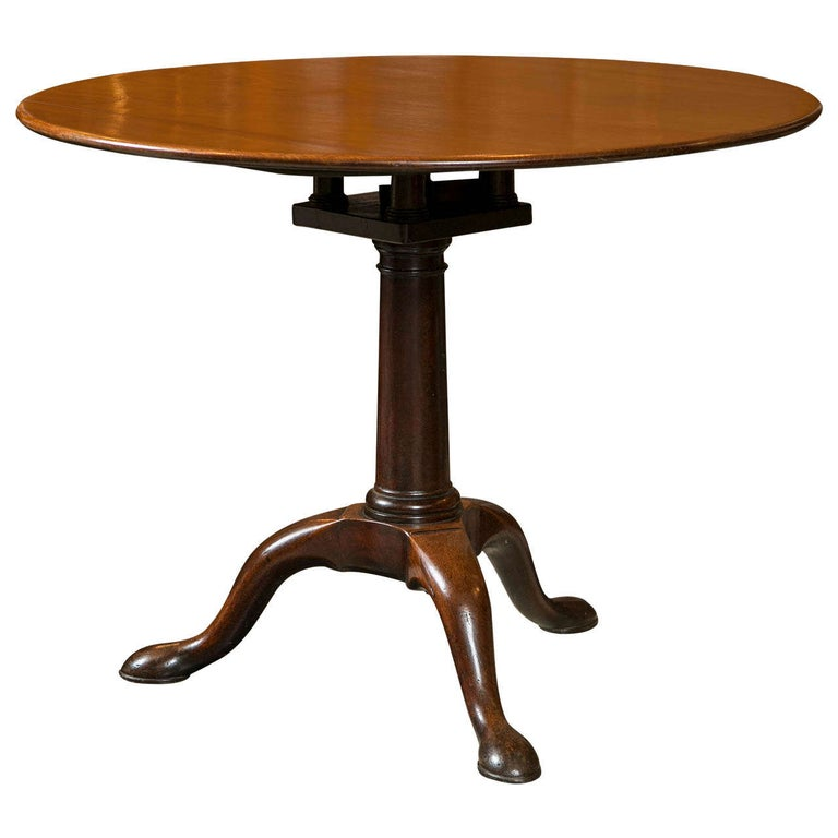 English Mahogany Tilt-Top Table For Sale