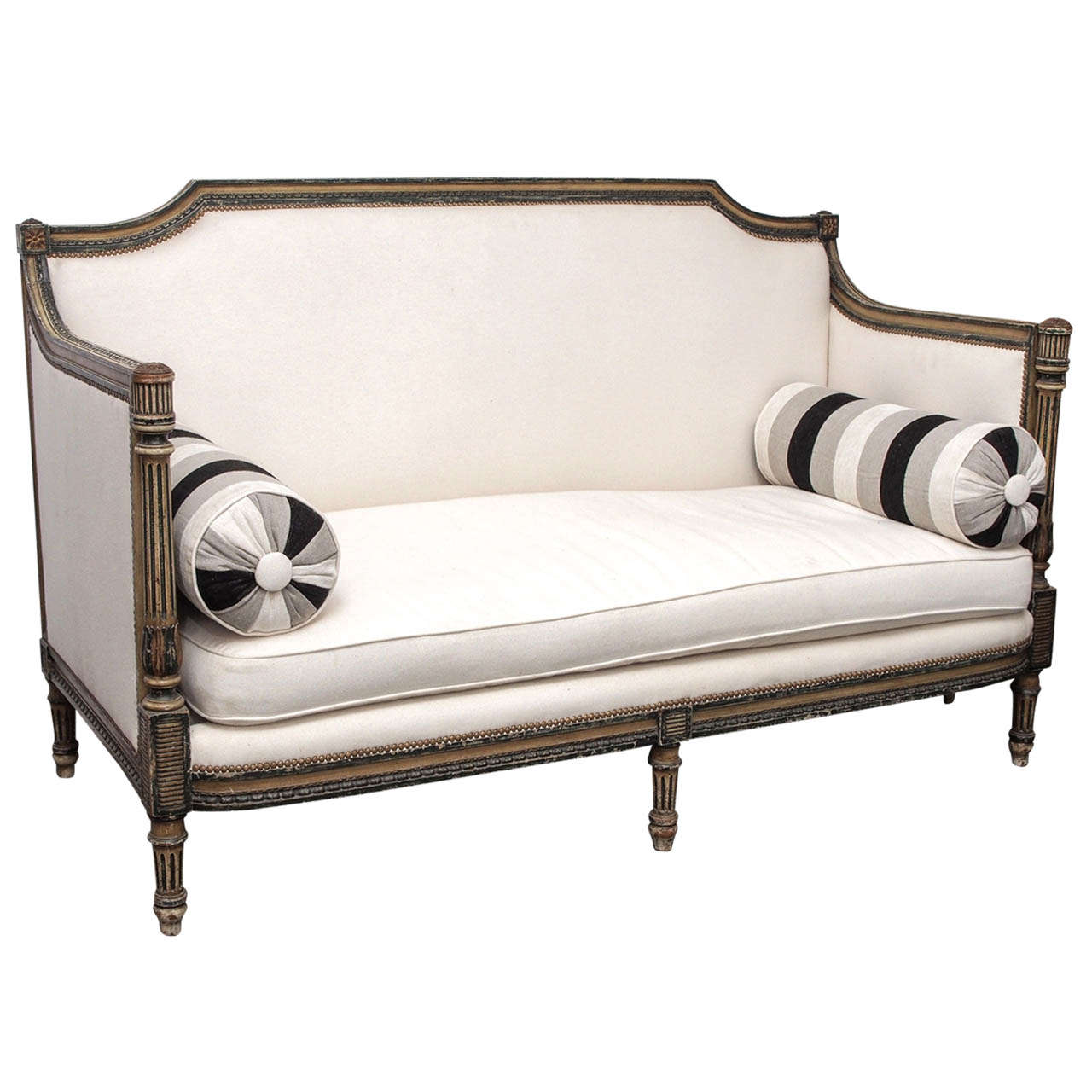 Louis XVI Style Carved Painted Wood And Upholstered Sofa At 1stdibs. Full resolution  photograph, nominally Width 1280 Height 1280 pixels, photograph with #7E614D.