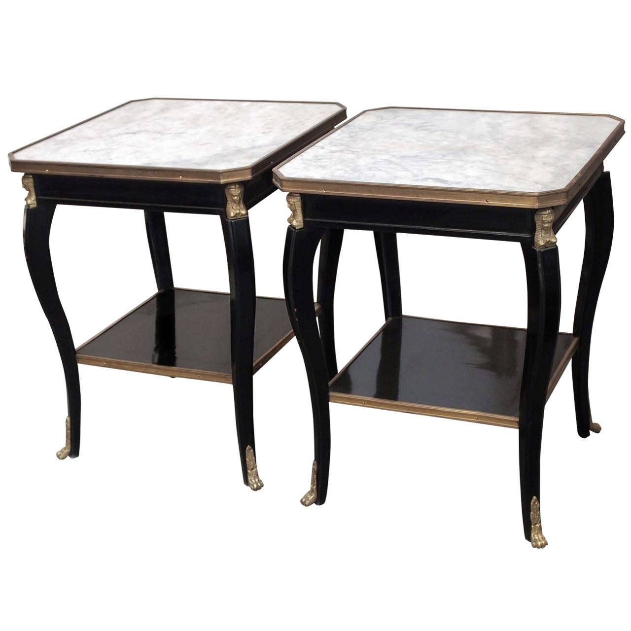 French empire style black laquered wood and carrera marble for Table carrera