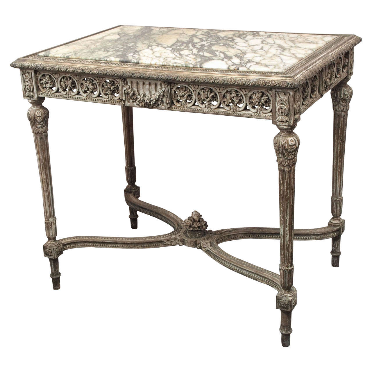 Carved Wood Side Table ~ Th century italian carved wood and marble side table