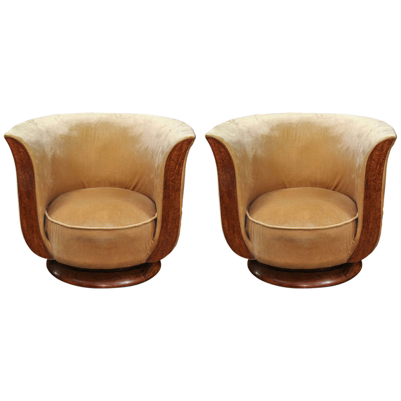 Pair of french deco hotel club chairs at 1stdibs - Club deco ...