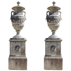 French Baroque Style Stone Urns on Plinths
