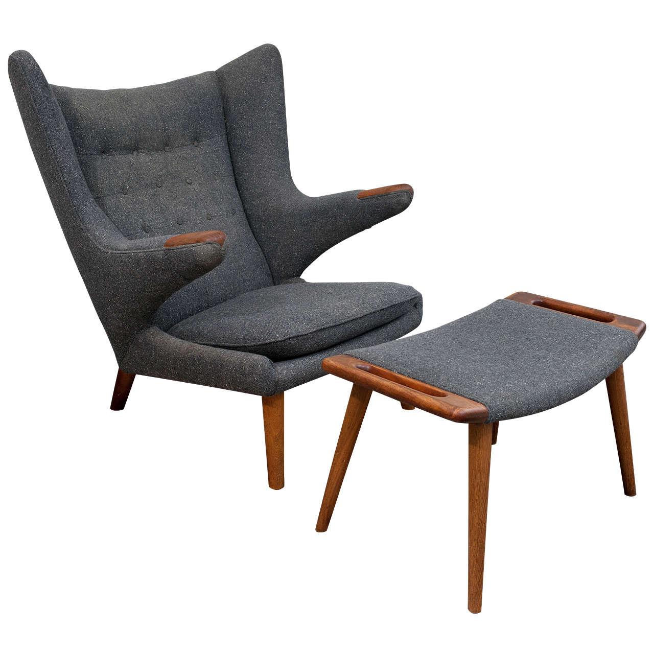 Marvelous Vintage Hans Wegner Papa Bear Chair And Ottoman At 1Stdibs Ibusinesslaw Wood Chair Design Ideas Ibusinesslaworg