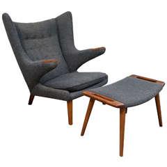 Vintage Hans Wegner Papa Bear Chair and Ottoman