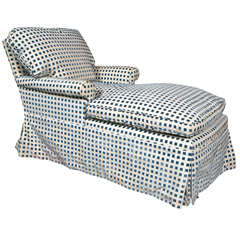 A Hollywood Regency Blue and White Checkered Chaise Lounge