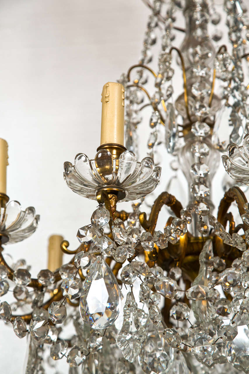 French Bronze and Crystal Georgian Style Chandelier. For Sale