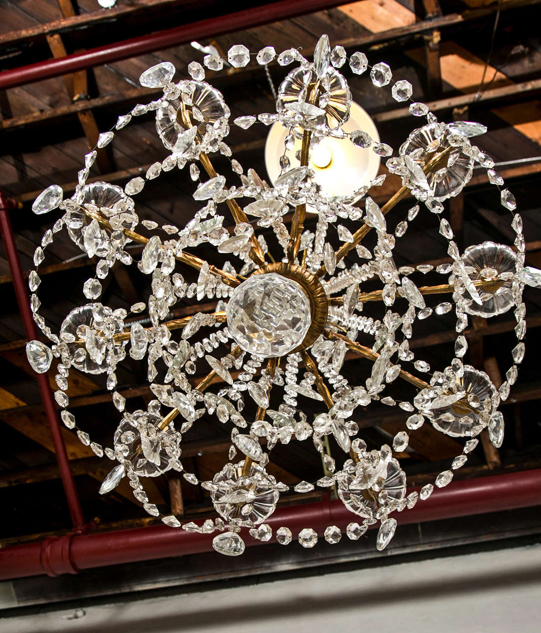 Bronze and Crystal Georgian Style Chandelier. For Sale 1