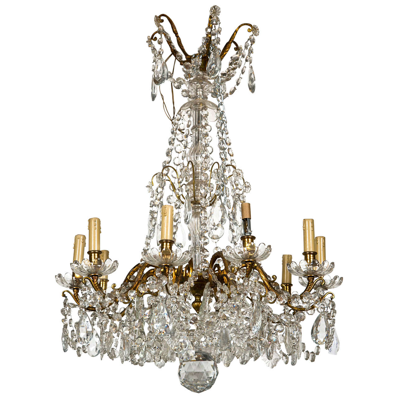 Bronze and Crystal Georgian Style Chandelier. For Sale
