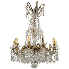 Bronze and Crystal Georgian Style Chandelier.