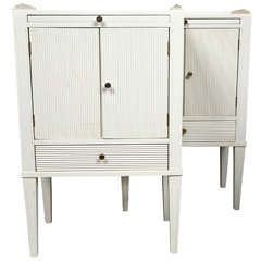 Pair Of White Paint Decorated Stands Night Tables.