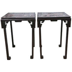Magnificent Pair of Chinoiserie Ebonized Decorated Tables