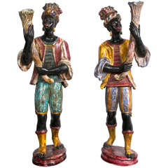 19th Century Pair of Italian Blackamoores