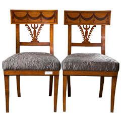 Pair of Biedermeier Ebony Inlaid Side Chairs.