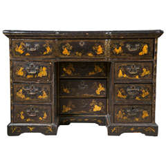An 18/ 19th Century Chinoiserie Decorated Knee Hole Desk