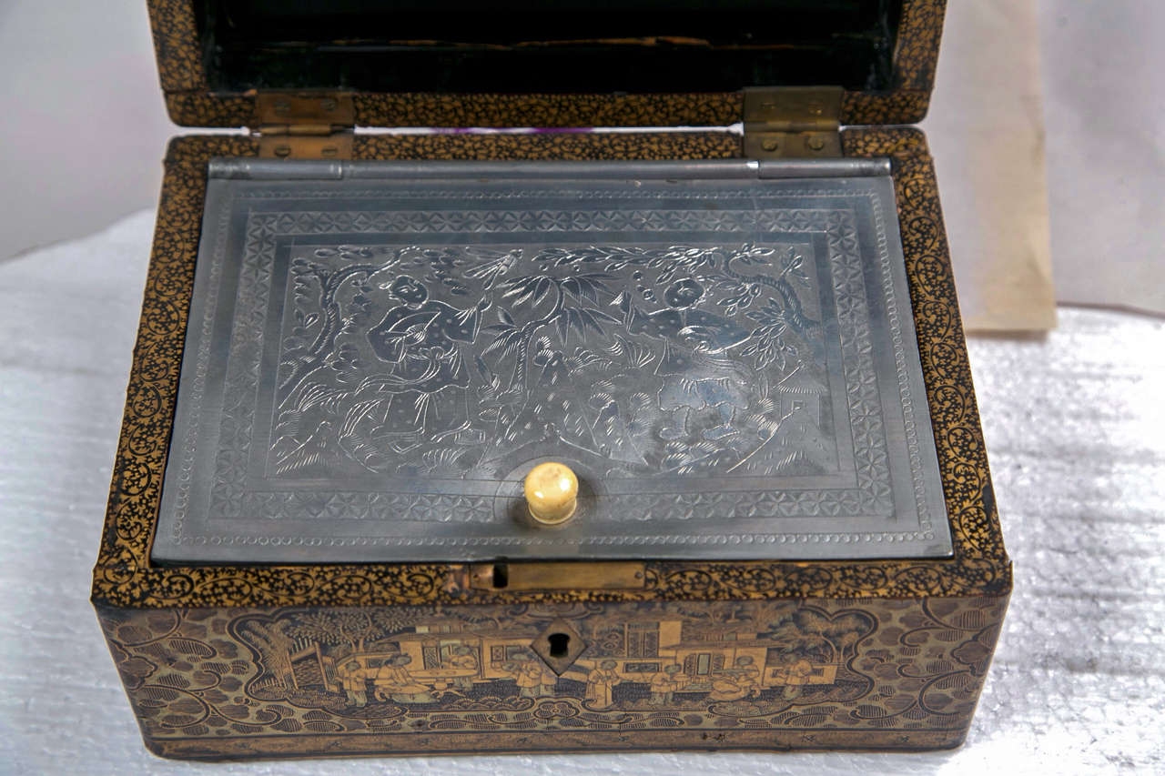 19th Century Chinoiserie Antique Humidor Jewelry Box For Sale 1