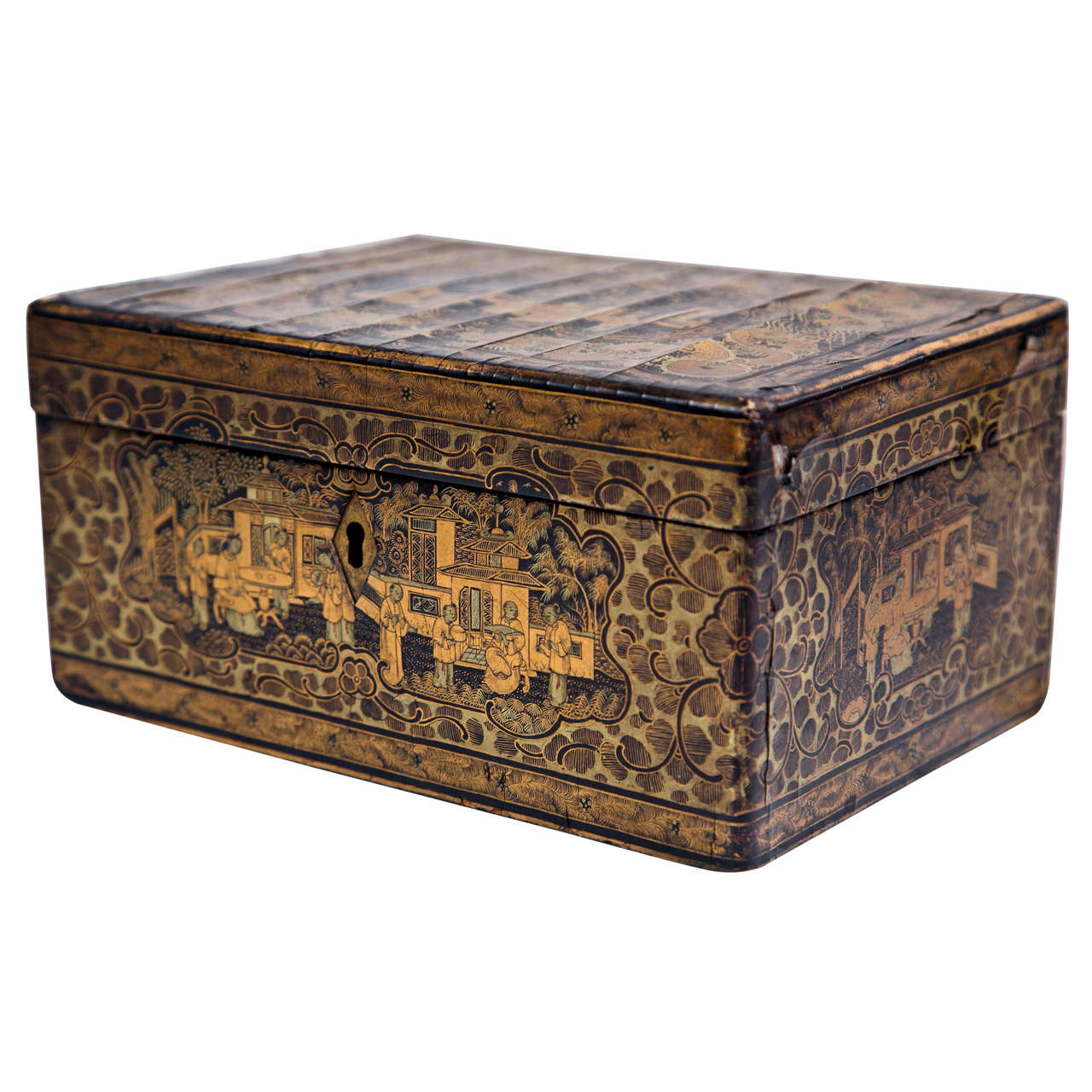 19th Century Chinoiserie Antique Humidor Jewelry Box For Sale
