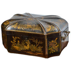 Black Lacquered Chinese Chinoiserie Tea Caddy 19th century