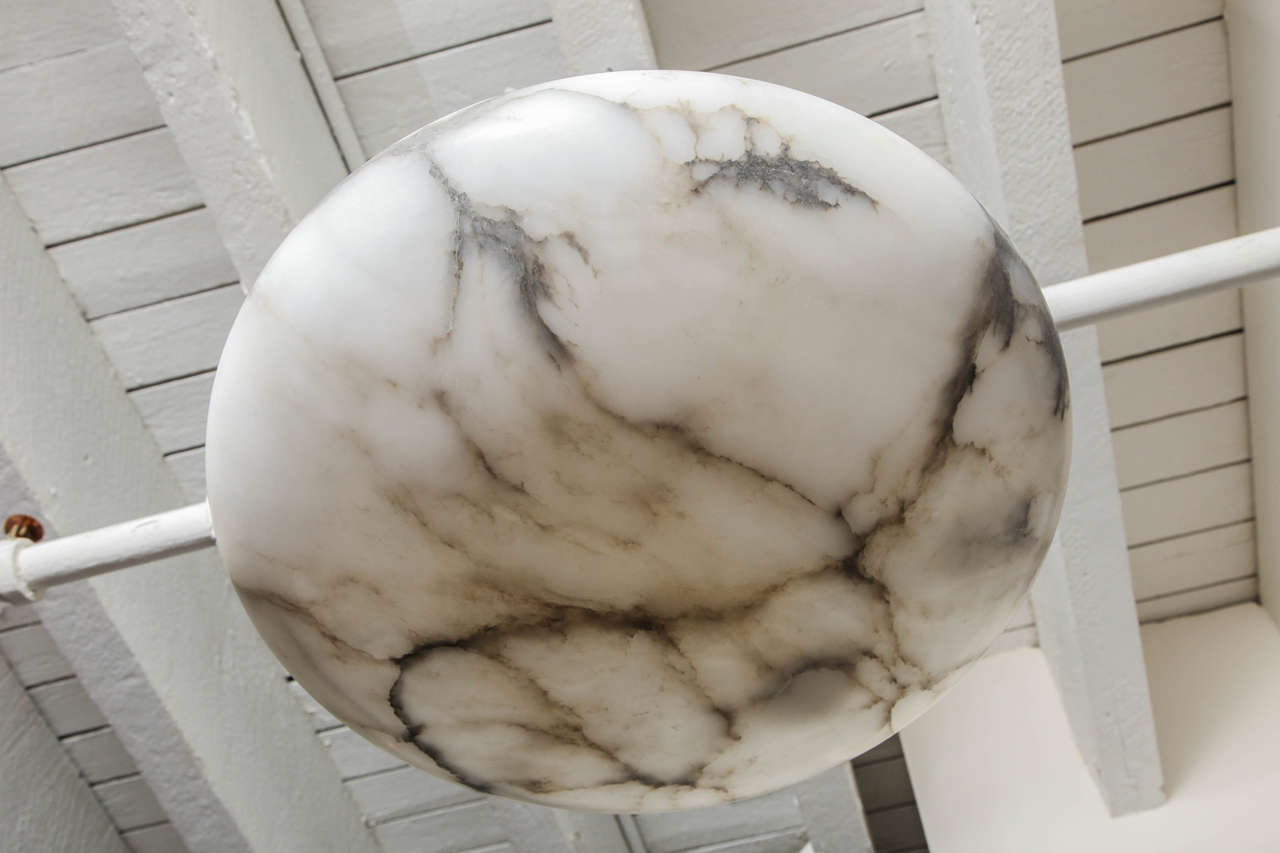 20th Century Alabaster Chandelier  In Good Condition For Sale In New York, NY