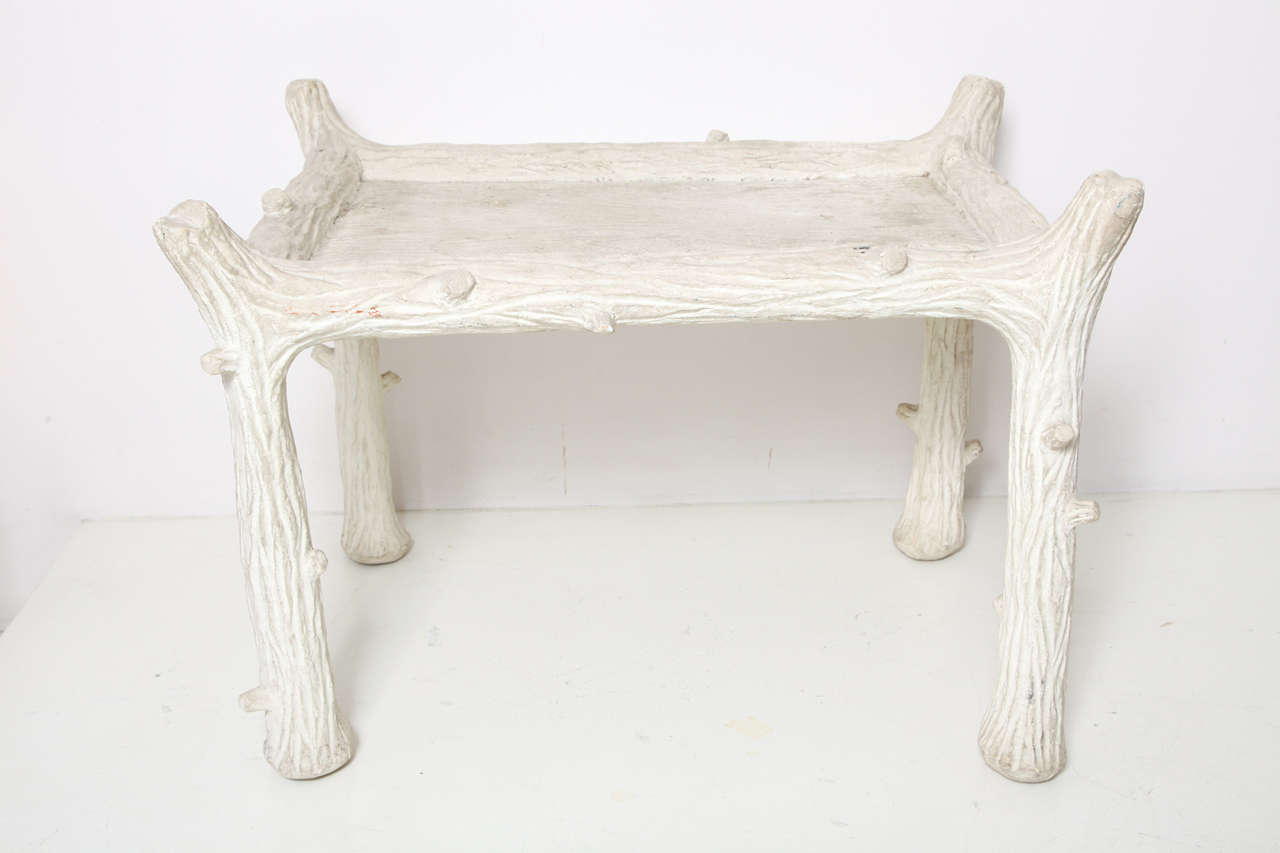 """John Dickinson  (1920-1982) """"Twig"""" rectangular side table in plaster with faux bois incised decoration. Signed. American, c. 1970"""