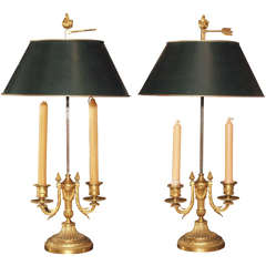Pair 19th Century Bronze Dore Bouillotte Lamps