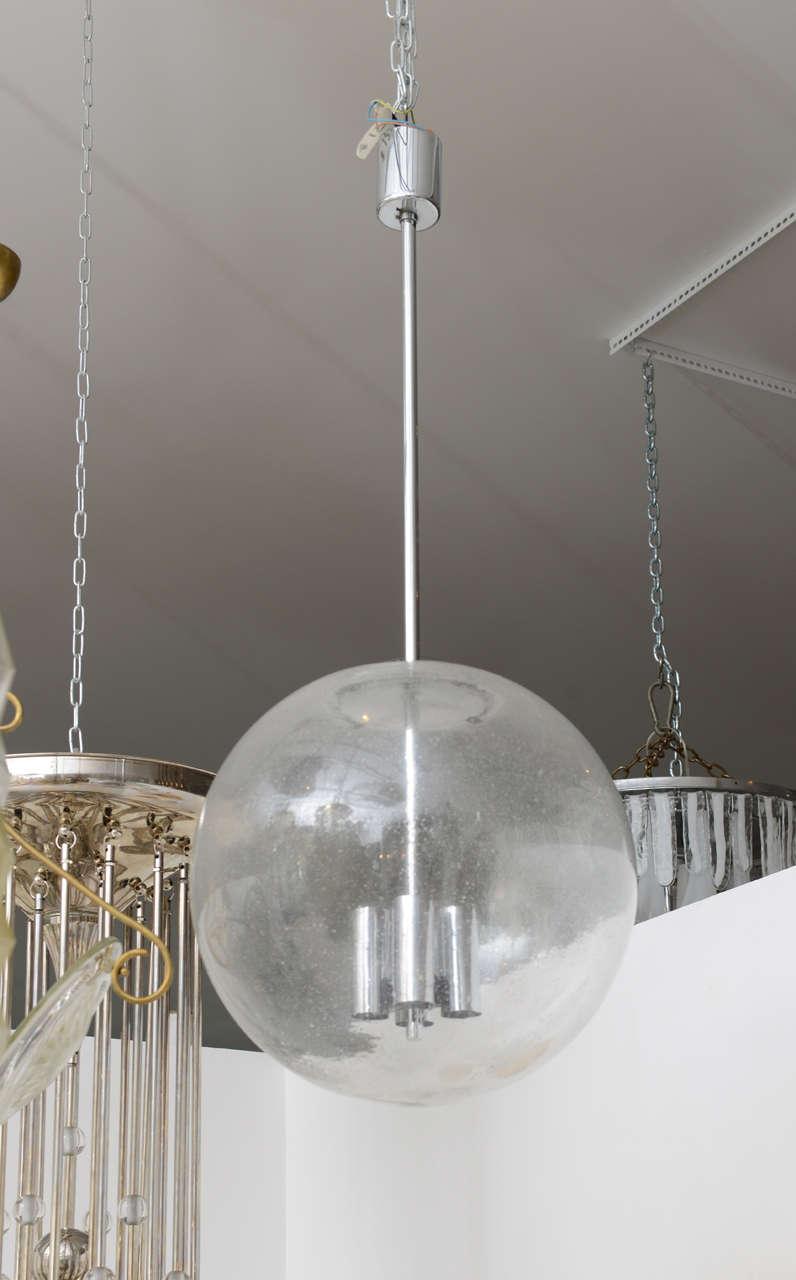 Vintage Glass Pendant Globe Light Fixture At 1stdibs