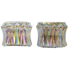 Pair of Vintage Iridescent Glass Sconces