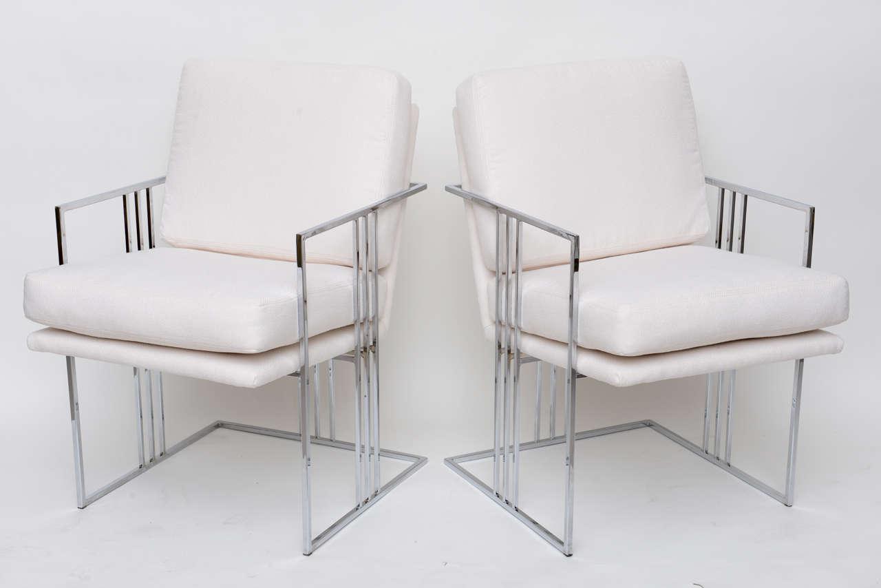 Pair of Milo Baughman Chrome Armchairs at 1stdibs