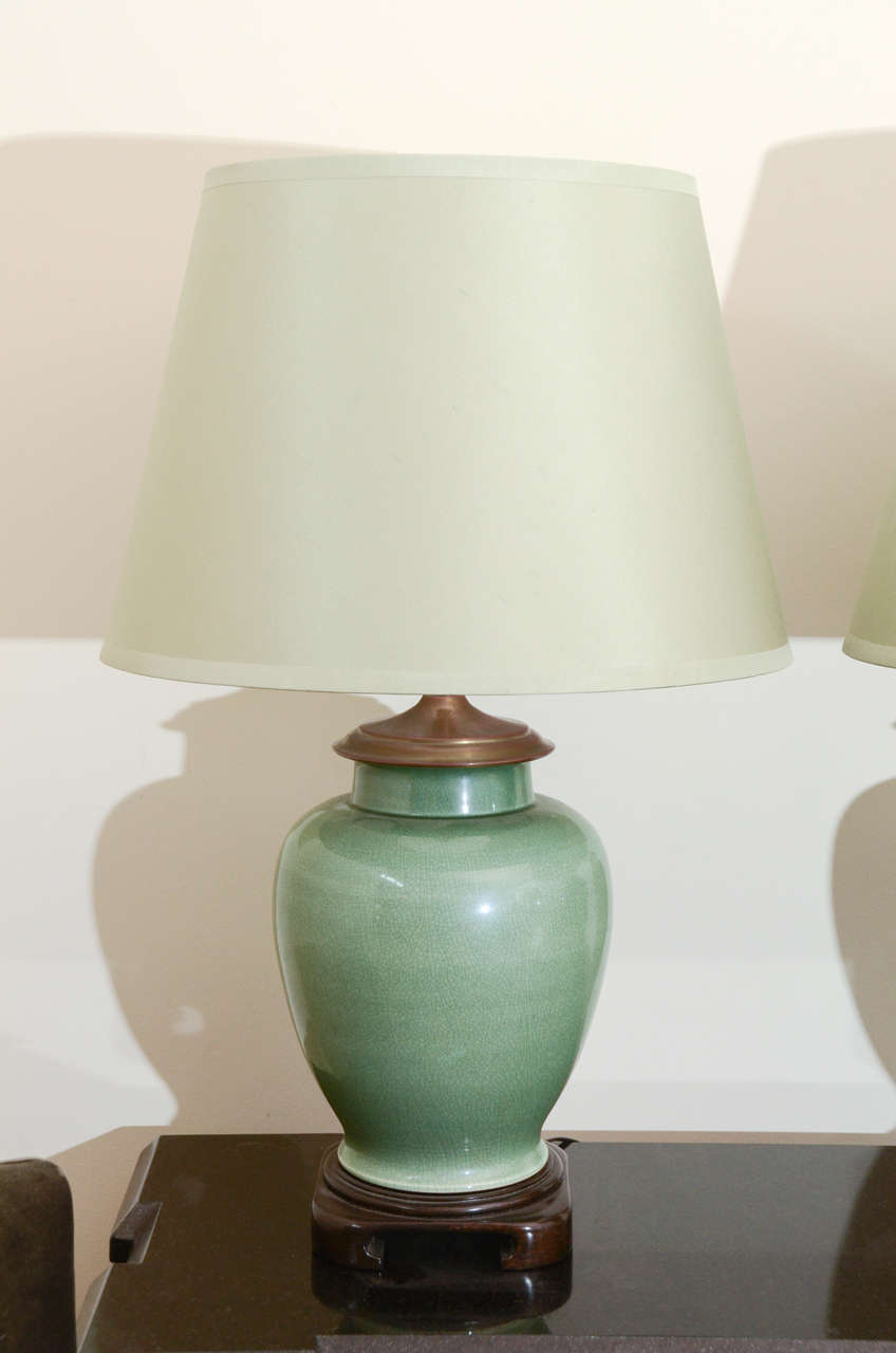 Pair Of Large Jade Ginger Jar Lamps In Excellent Condition For New York
