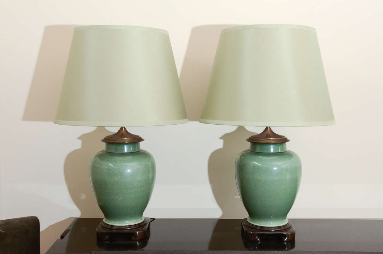 Pair Of Large Jade Ginger Jar Lamps At 1stdibs