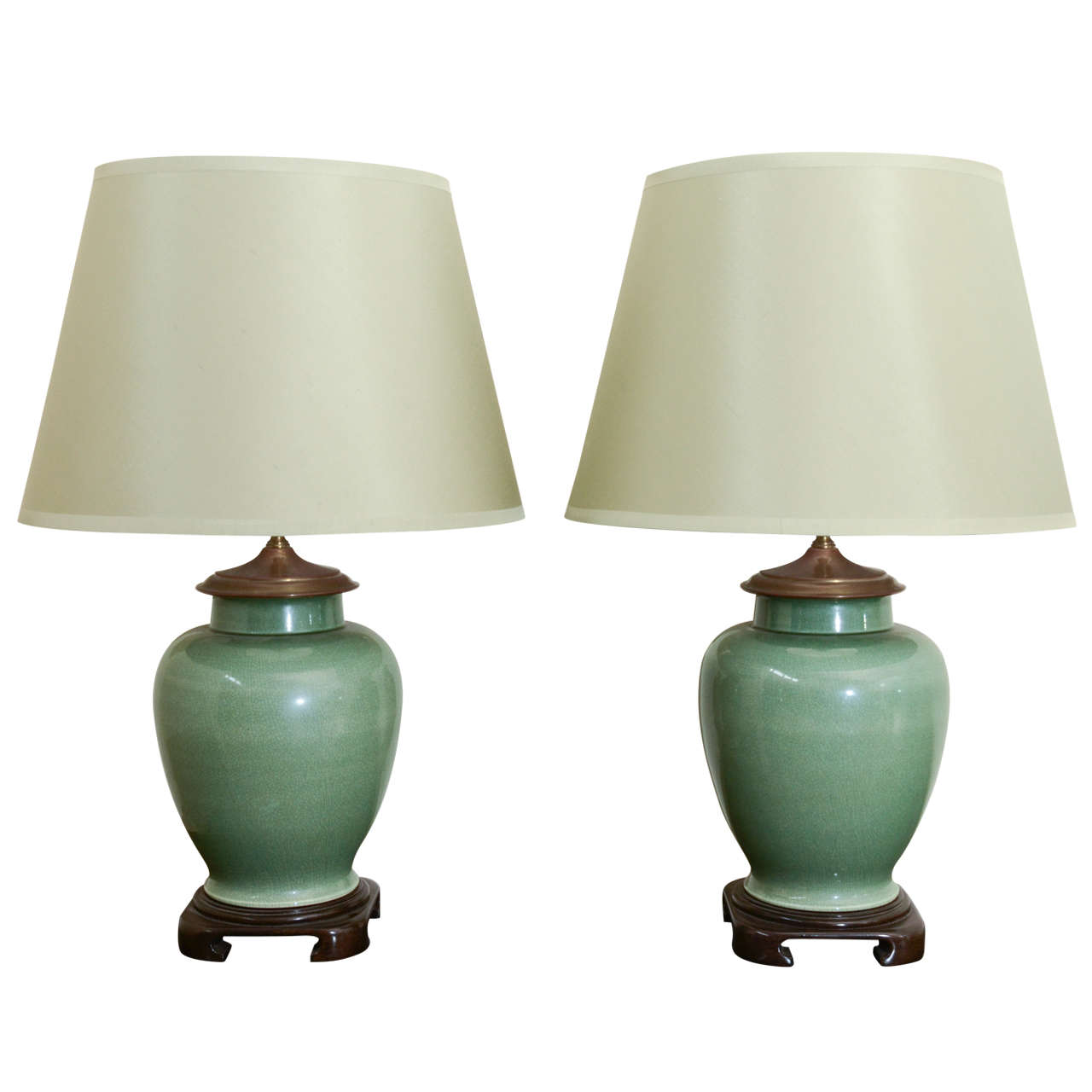 Pair Of Large Jade Ginger Jar Lamps For