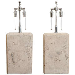 Pair Of Large Faux Travertine Lamps