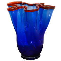 Large Cobalt  Glass Ribbon Vase