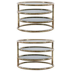Pair of Tubular Brass Three Tiered Tables with Smoke Glass