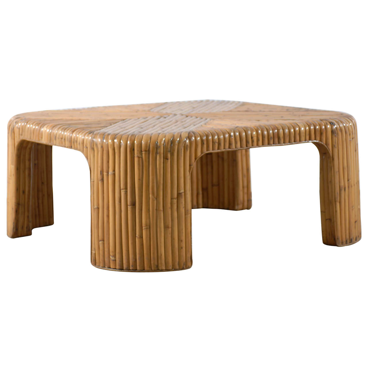 Lovely Vintage Bamboo Coffee Table With Waterfall Corners