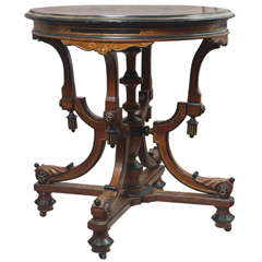 Victorian Round Table with Marquetry