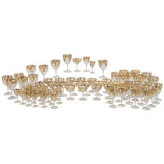 Extraordinary Handblown Quatrefoil Crystal Stemware Service with Raised Gold
