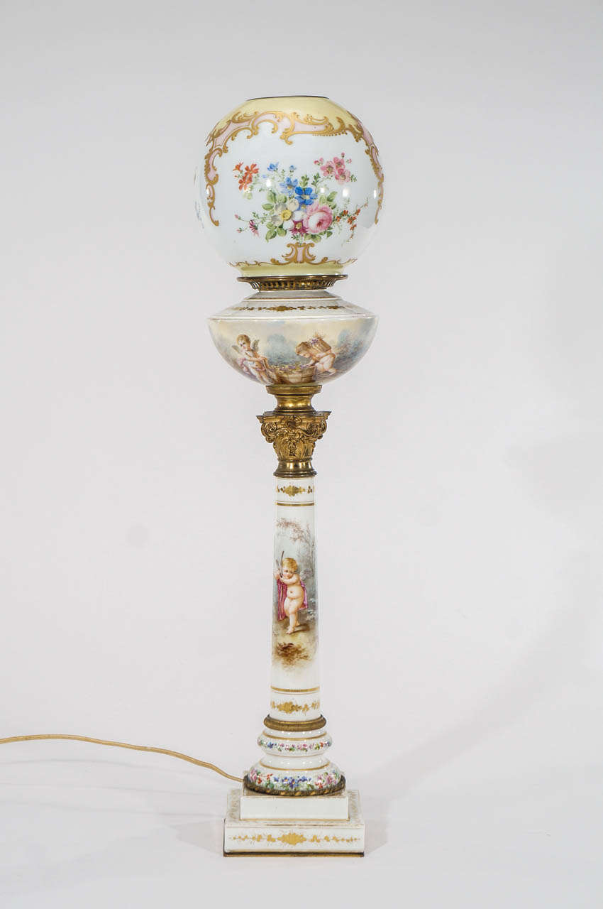 sevres hand painted lamp with signed baccarat hand painted shade for. Black Bedroom Furniture Sets. Home Design Ideas