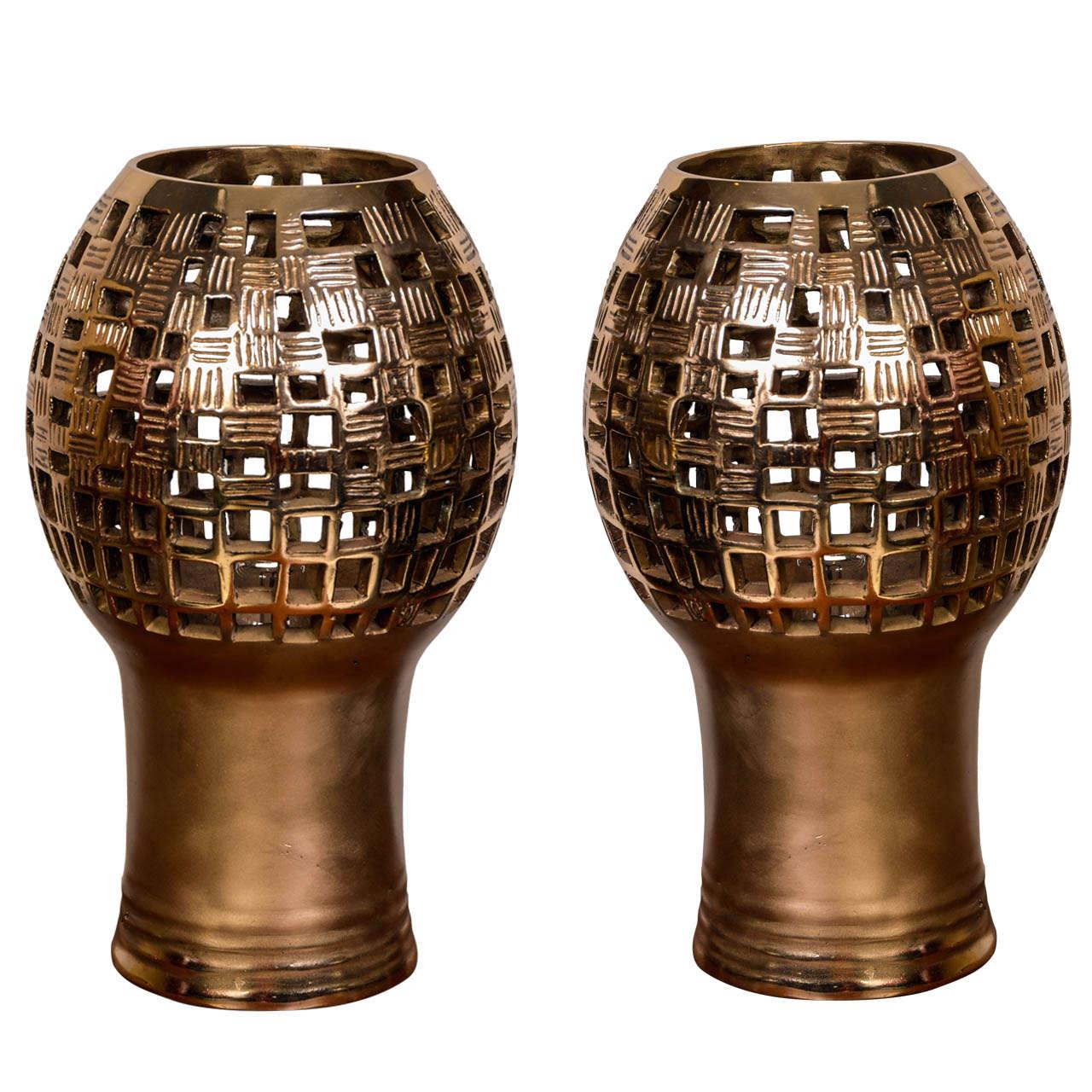 Pair of Bronze Table Lamps by Robert Phandeve